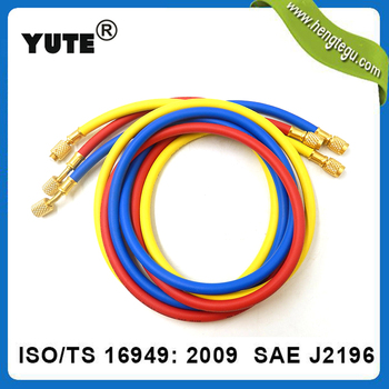 Wholesale aging resistant sae j2196 refrigerant charging hose with brass fittings