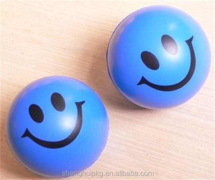 Hot sale promotional blue smiley face stress ball/ PU anti stress ball