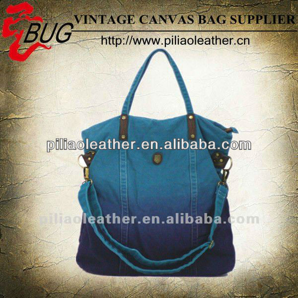 BUG best selling high density dip dye vintage canvas shopping tote bag hand bag manufacture wholesale