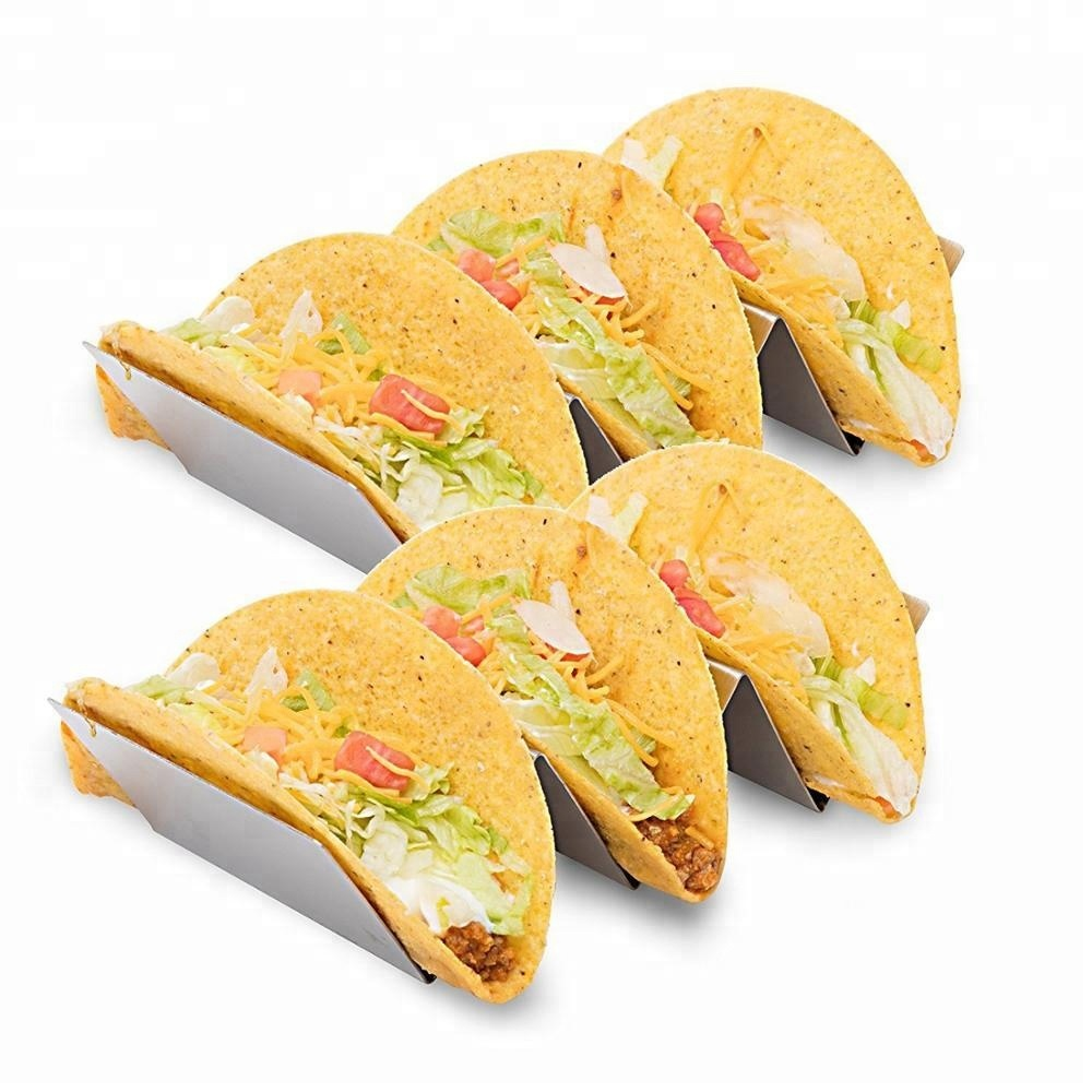 Metal steel taco holder rack with silicone mat