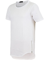 ZIPPER LONG TEE WHITE and 2015 latest plain longline men custom t-shirt