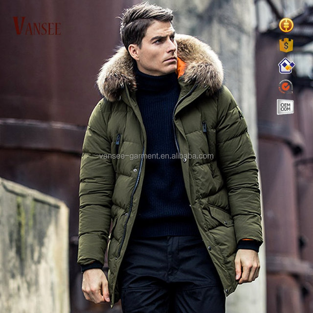 overcoat warm winter fur long mens lining outdoor down hooded parka jacket