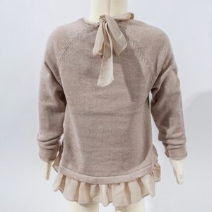 wholesale kids clothing knitted girls sweaters with chiffon