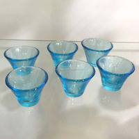 Set 6 Ice Blue Japanese Sake Cup Wine Glass Shooter Shot Glass