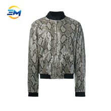 2017 fashion design customized sequined anguine pattern nylon bomber jacket