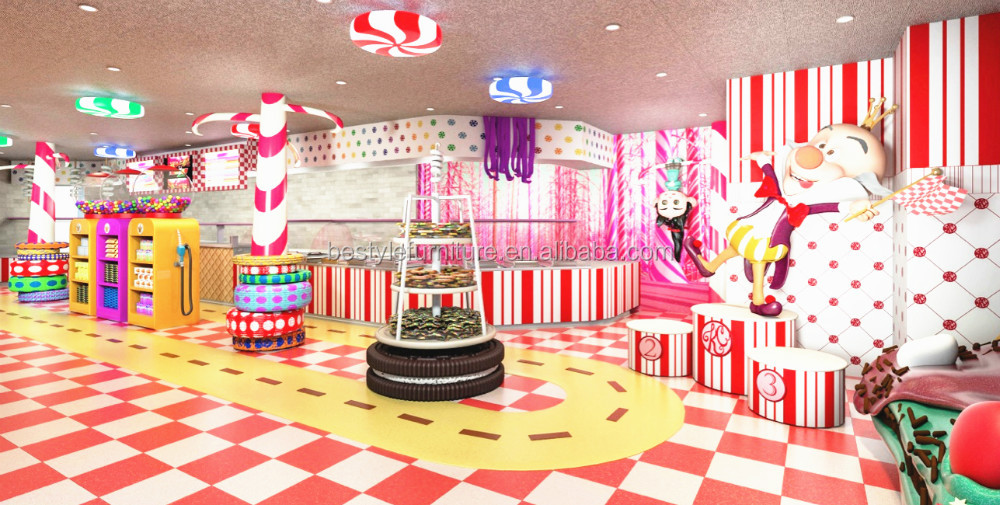 Attrative colorful candy kiosk chocolate showcase for retailer