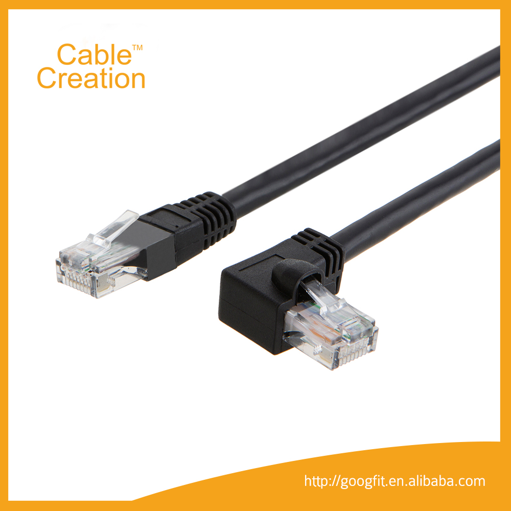 Left Angled 10ft Factory Best Price RJ45 Ethernet systimax UTP AMP Cat6 Lan Cable Armored Patch Cord Cat6 Cable