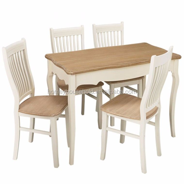 Cheap dinning room furniture table and chairs white MDF wood dining tables set