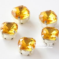 shiny crystal topaz fat square shape 18mm loose pointed back rhinestones with claw for sewing accessories