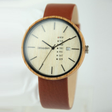 China Watch Factory Leather Band Wood Hand Watch for Girl