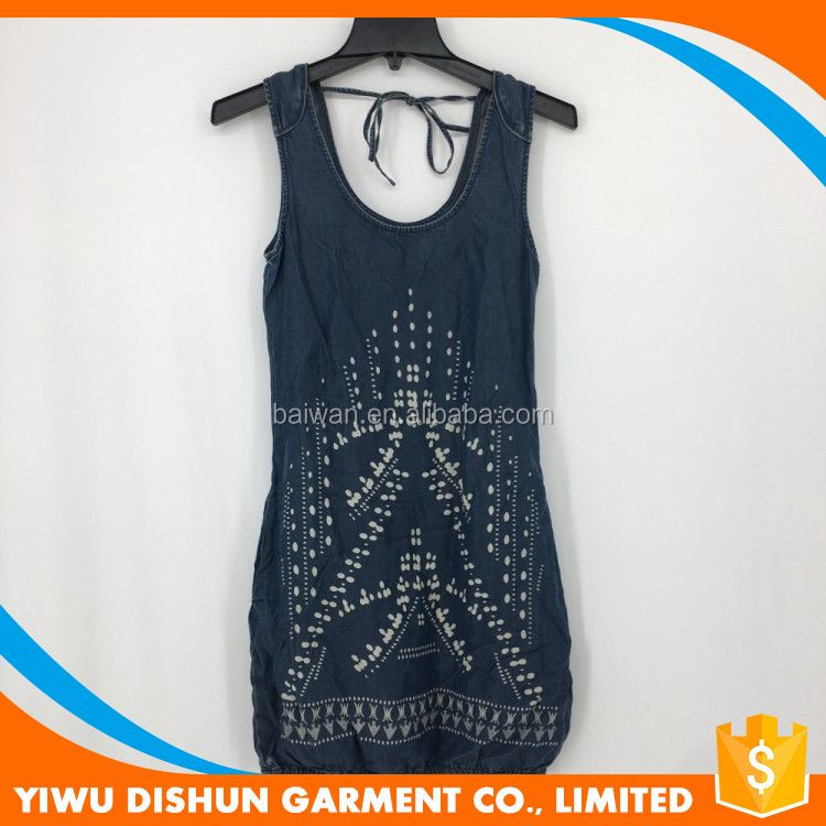 Custom Whole fashion embroidery ladies one piece dress