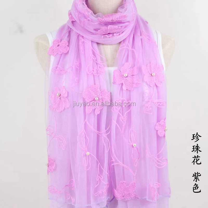embroidery muslim hijab scarf lace trimmed Islam hijab scarf plain solid color viscose cotton scarf