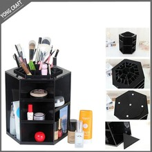 portable beauty cosmetic organizer case/ rotating storage display box