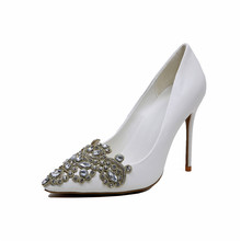 White Sexy High heels Pointed Toe Ladies Jeweled bridal Wedding Shoe Closed Toes