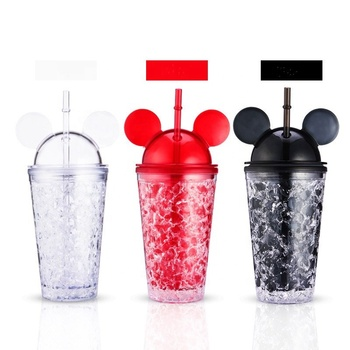 450ml Creative Mickey Mouse Double Wall Plastic Ice Cold Drink Cup