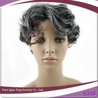 fashion short grey curly synthetic hair wigs for old man