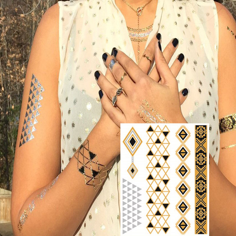 Wholesale custom gold and silver metallic flash body temporary golden henna tattoo sticker