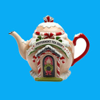 christmas decorations Santa's Village Ceramic Teapot made in china, 7-1/4-Inch