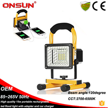 New Design Portable Rechargeable Indoor LED Floodlight Waterproof IP65 15W LED Flood Light Ourdoor Lighting With Charger