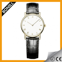 Wholesale minimalist genuine leather casual man watch for promotion