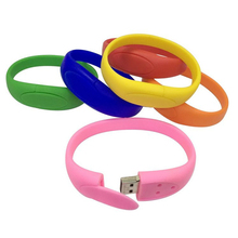 Fashion Customized Logo Silicone Wristband Bracelet USB 2.0 Flash Drive Pen Drive Memory Stick Thumb Drive 1GB/2GB/4GB/8GB/16GB/