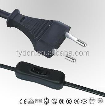 Factory price European standard EU 2 pin plug power cord 303 inline with switch