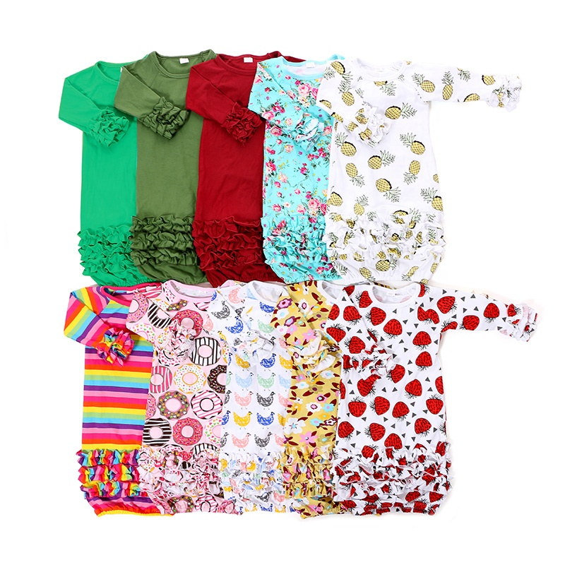 Hot infant girl clothes Bow Long Sleeve newborn gift set clothes baby night gown