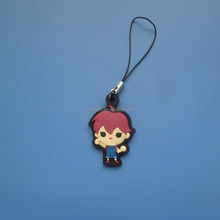 soft rubber pvc embossed little boy cartoon anime character mobile phone strap dangler charm
