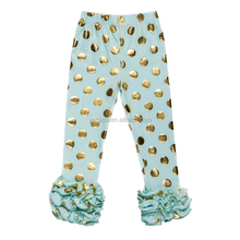 Fashion cotton leggings , kids wear ruffle leggings with polka dot in stock