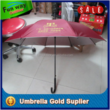 Logo printed handheld parasol umbrella with plastic hook handle