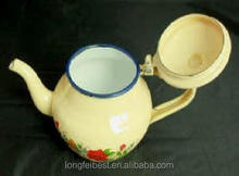 9cm Small round enamel teapot/kettle/water pot with flower