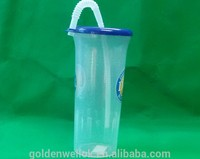 32OZ PP plastic water cup with straw