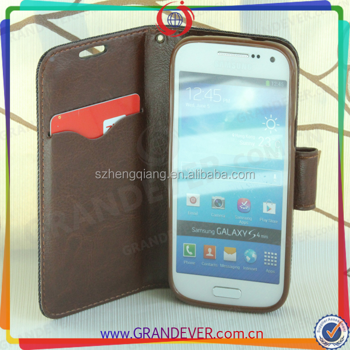 For Samsung Galaxy S4 Mini I9190 Durable PU Leather Wallet Flip Case With Card Slots Stand Case