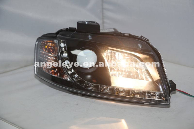 For Audi A3 LED Head Light With Projector Lens 2003-2007 Year SN Black Housing SN