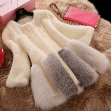 Italian Design Artificial Fur Knitted Grey Mink Winter Coats For Women