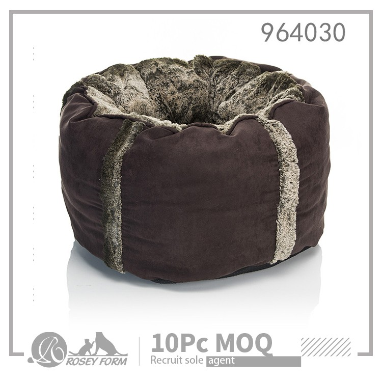 Low MOQ decorative fur round dog bed