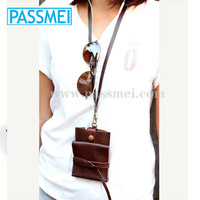 Smart clay brown leather phone wallet with neck strap Leather phone case