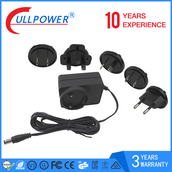 12v 1a plug in power adaptor with eu au us uk interchangeable plug power adapter UL CE FCC SAA C-tick