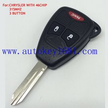 car key 315mhz ID46 Chip 2+1button for chrysler dodge jeep remote key with blank small key blade
