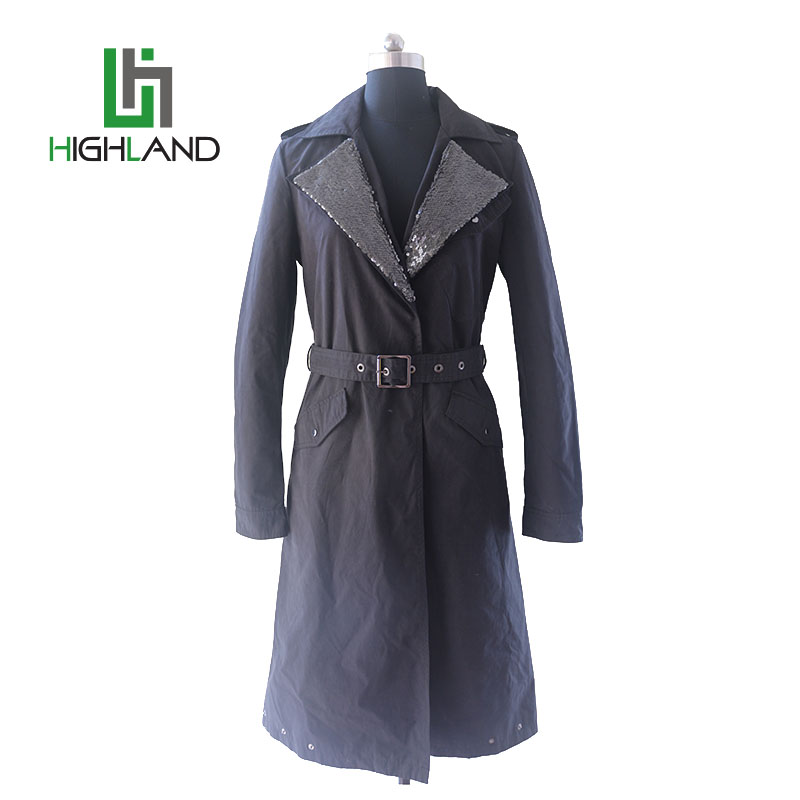 2017latest fashion designs black wind coat trench coat buckles women trench coat