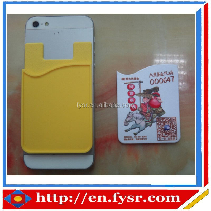 Customized 3m sticker lycra silicone credit card holder with screen clearner