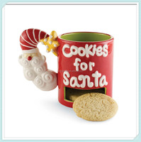 New product santa baby ceramic mug with cookie holder