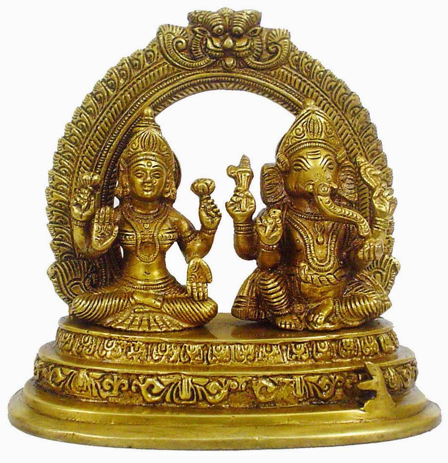 laxmi ganesh brass idol indian handicrafts home decor
