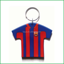 Plastic PVC football shirt keychain/ T shirt key tag for football club gifts
