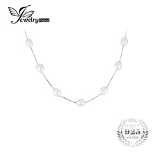 JewelryPalace Freshwater Cultured Pearl Box Chain Choker Strand Beads 925 Sterling Silver chain Necklace 18 Inches White Oval 8-