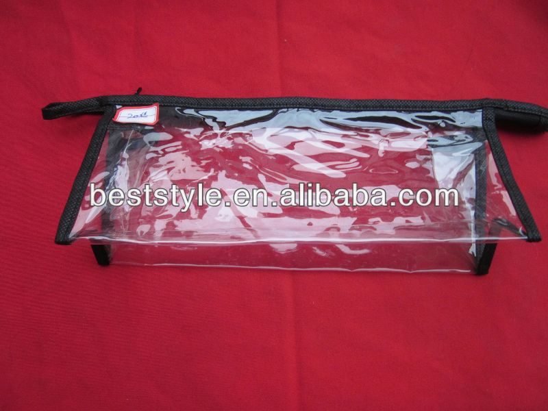 hot sale top zipper pvc plastic packing bags with handle
