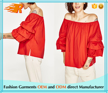China Manufacturing Custom Design Off The Shoulder Coral Blouse With Frills