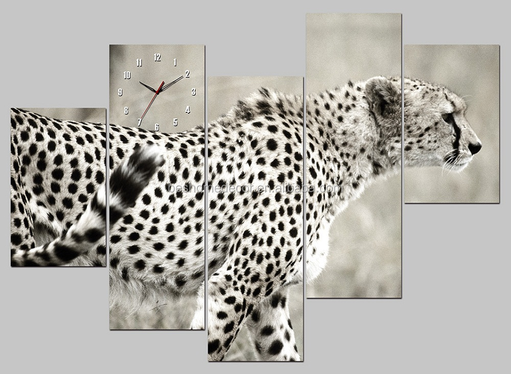 Cheetah Animal Pictures Wall Art,canvas wall clocks animals