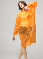 PEVA yellow plastic disposable long upto knee raincoat