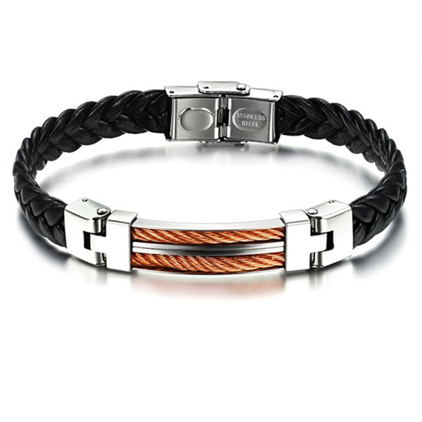 Wholesale Personality Style Leather Stainless Steel Bracelet Men